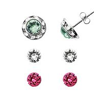 Illuminaire Silver-Plated Crystal Interchangeable Stud Earring Set - Made with Swarovski Crystals
