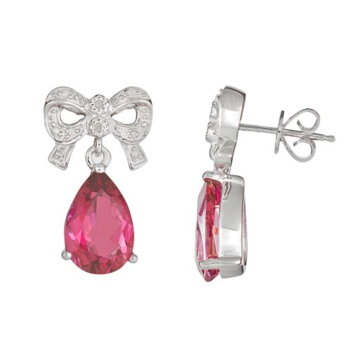 Sterling Silver Pink Topaz and Diamond Accent Bow Drop Earrings