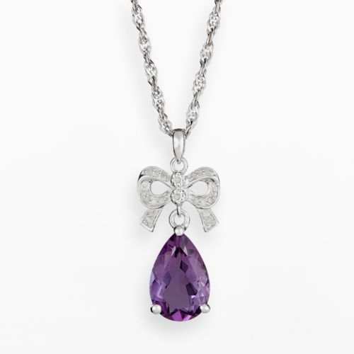 Sterling Silver Amethyst and Diamond Accent Bow Pendant