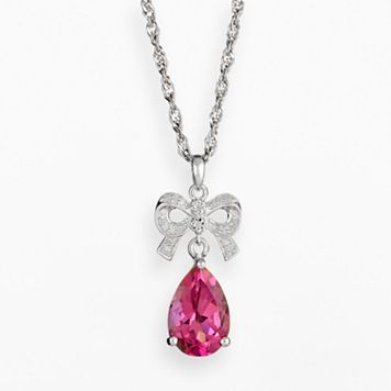 Sterling Silver Pink Topaz & Diamond Accent Bow Pendant
