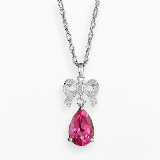 Sterling Silver Pink Topaz and Diamond Accent Bow Pendant