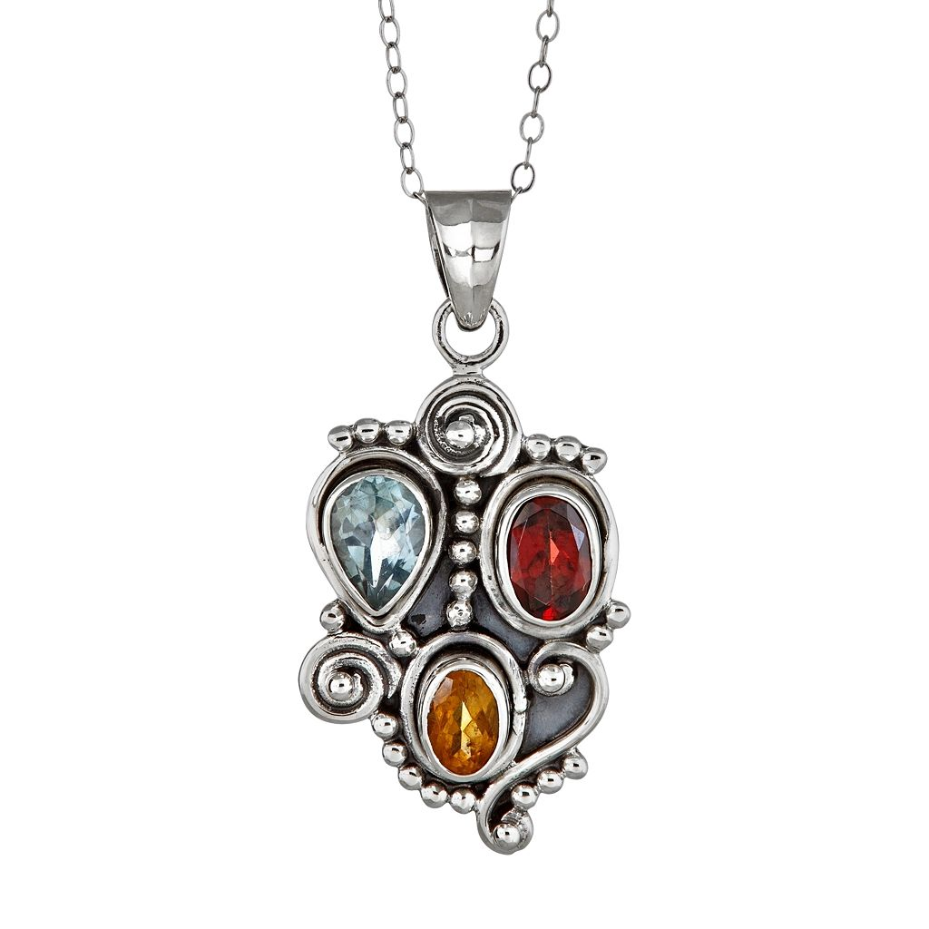Sterling Silver Gemstone Swirl Pendant