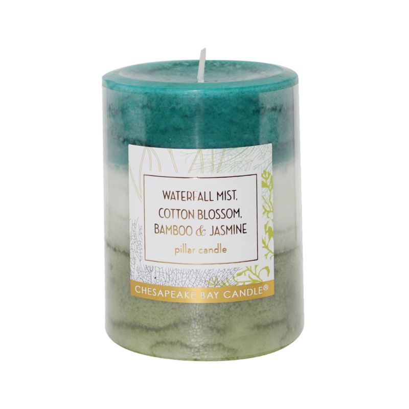 ... Waterfall Mist, Cotton Blossom and Bamboo and Jasmine Pillar Candle