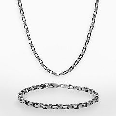 LYNX Black Ion-Plated Stainless Steel & Stainless Steel Bike Chain Necklace & Bracelet Set - Men