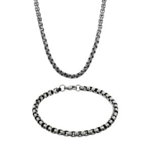 LYNX Stainless Steel Box Chain Necklace and Bracelet Set - Men