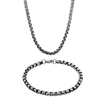 LYNX Stainless Steel Box Chain Necklace & Bracelet Set - Men