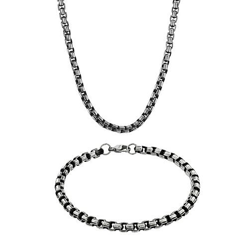 LYNX Stainless Steel Box Chain Necklace & Bracelet Set - Men