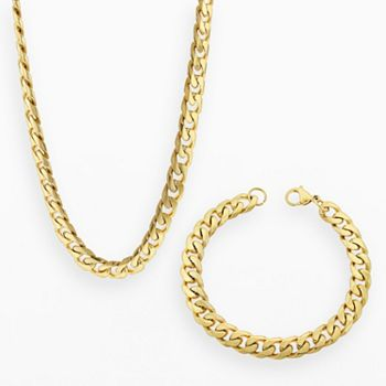 Lynx Yellow Ion Plated Stainless Steel Curb Chain Necklace Bracelet Set Men