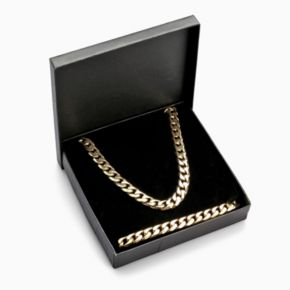 LYNX Yellow Ion-Plated Stainless Steel Curb Chain Necklace and Bracelet Set - Men