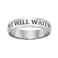 Sterling Silver Diamond Accent 'I Will Wait' Purity Ring