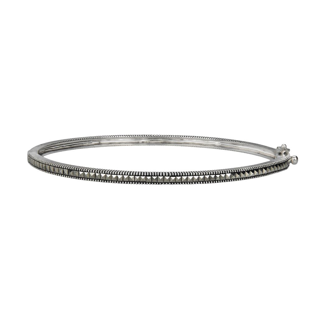 Lavish by TJM Sterling Silver Bangle Bracelet - Made with Swarovski Marcasite