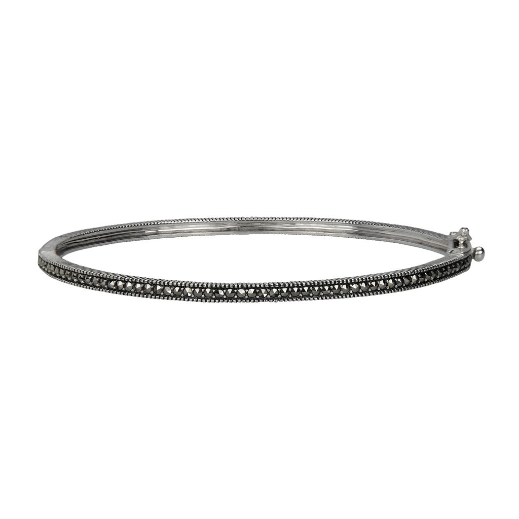 Lavish by TJM Sterling Silver Bangle Bracelet - Made with Swarovski Marcasite
