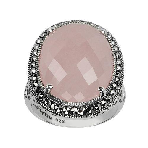 Lavish by TJM Sterling Silver Rose Quartz Halo Ring - Made with Swarovski Marcasite