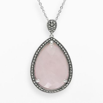 Lavish by TJM Sterling Silver Rose Quartz Halo Teardrop Pendant