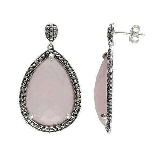Lavish by TJM Sterling Silver Rose Quartz Halo Teardrop Earrings - Made with Swarovski Marcasite