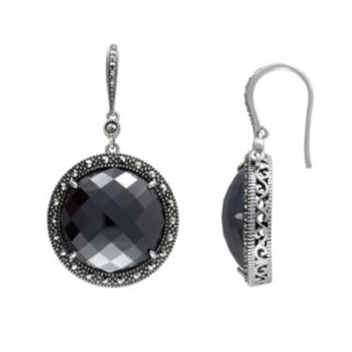 Lavish by TJM Sterling Silver Hematite Halo Drop Earrings - Made with Swarovski Marcasite