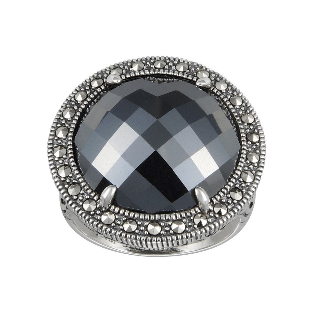 Lavish by TJM Sterling Silver Hematite Halo Ring - Made with Swarovski Marcasite