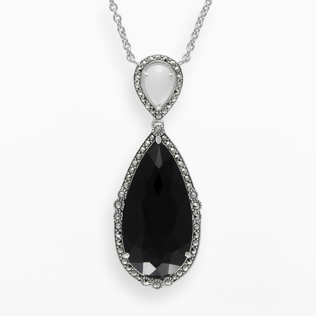 Lavish by TJM Sterling Silver Black & White Onyx Halo Teardrop Y Necklace - Made with Swarovski Marcasite
