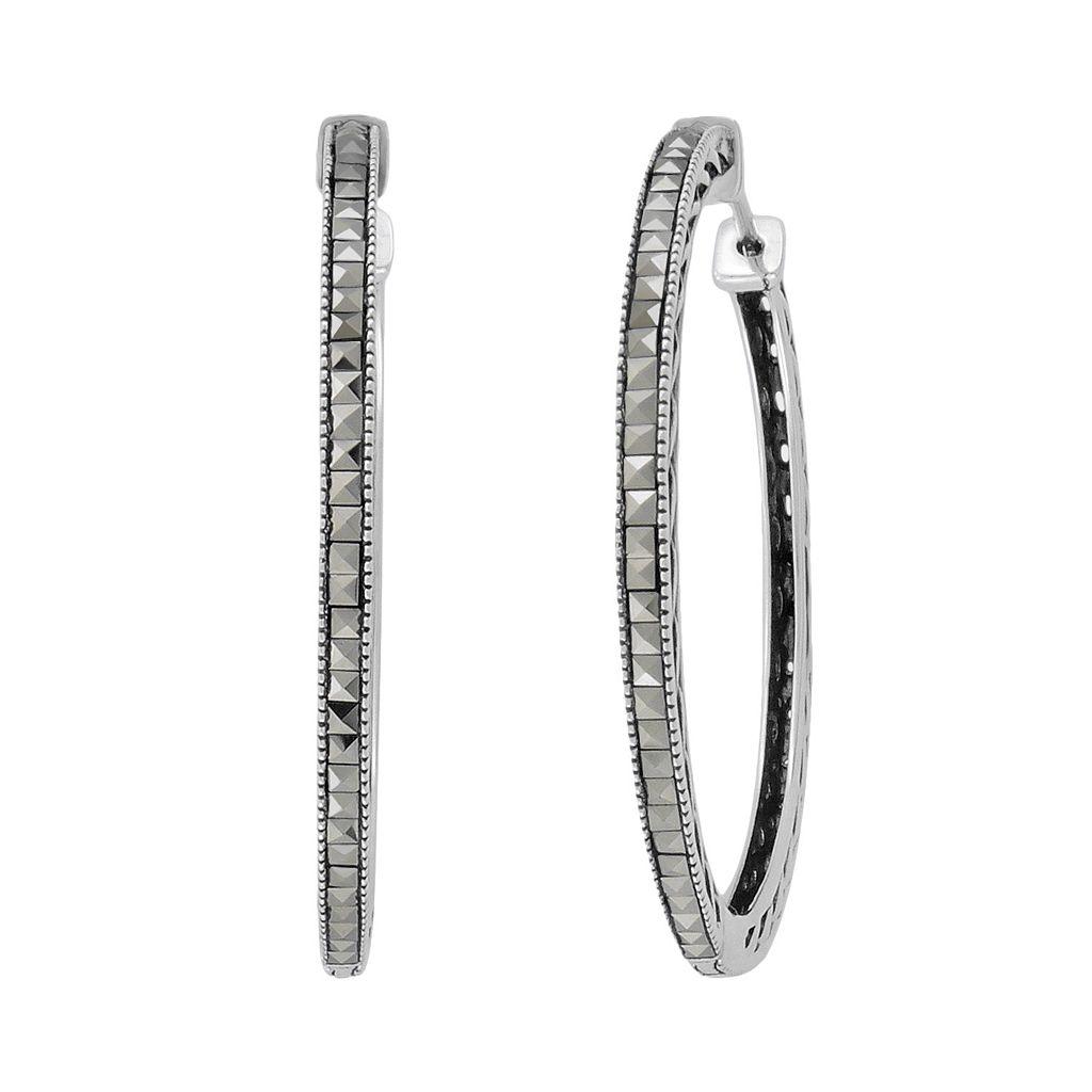 Lavish by TJM Sterling Silver Hoop Earrings - Made with Swarovski Marcasite