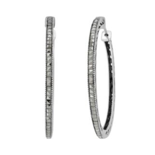 Lavish by TJM Sterling Silver Hoop Earrings - Made with Swarovski Marcasite
