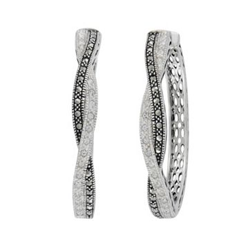 Lavish by TJM Sterling Silver Crystal Twist Hoop Earrings - Made with Swarovski Marcasite
