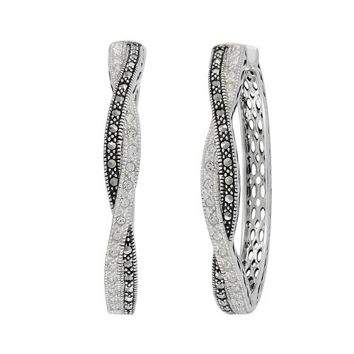 Lavish by TJM Sterling Silver Crystal Twist Hoop Earrings - Made with Swarovski Marcasite