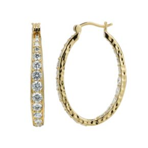 18k Gold Over Silver-Plated Cubic Zirconia Hammered U-Hoop Earrings