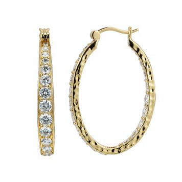 18k Gold Over Silver-Plated Cubic Zirconia Hammered U-Hoop Earrings