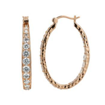 18k Rose Gold Over Silver-Plated Cubic Zirconia Hammered U-Hoop Earrings