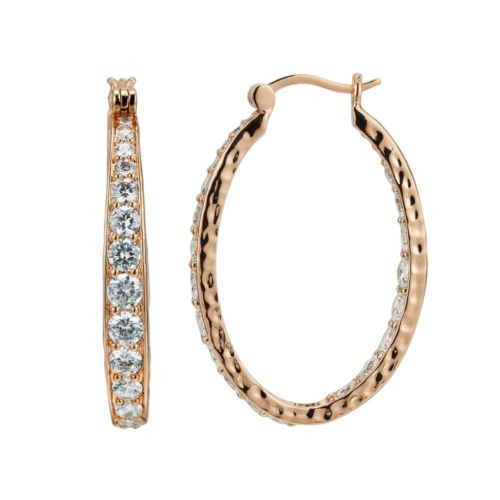 18k Rose Gold Over Silver-Plated Cubic Zirconia Hammered U-Hoop Earrings