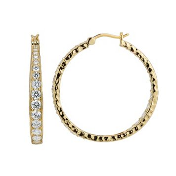 18k Gold Over Silver-Plated Cubic Zirconia Hammered Hoop Earrings