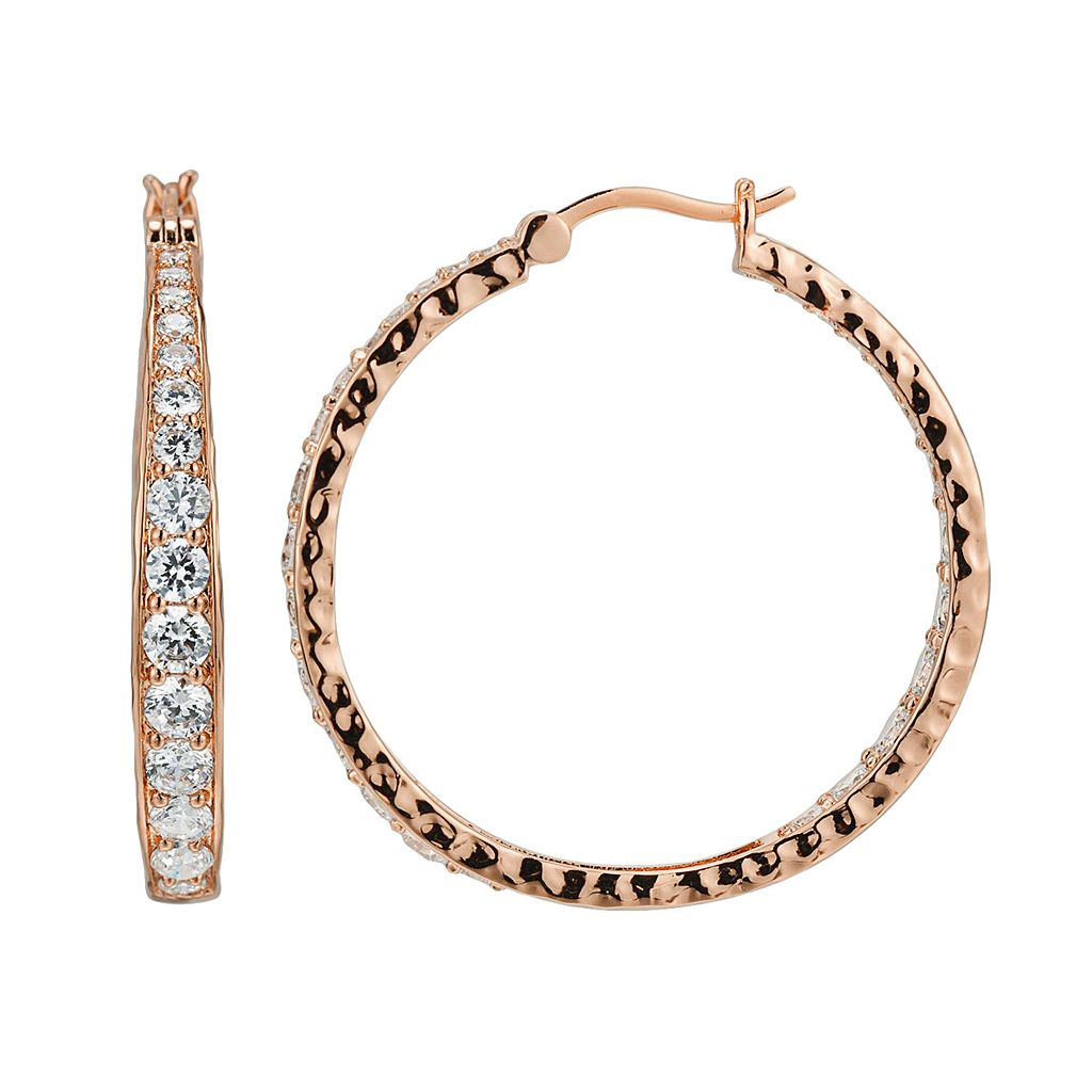 18k Rose Gold Over Silver-Plated Cubic Zirconia Hammered Hoop Earrings