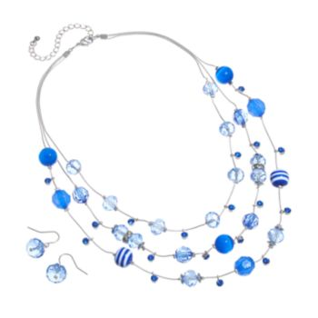 Silver Tone Simulated Crystal and Striped Bead Multistrand Necklace and Drop Earring Set