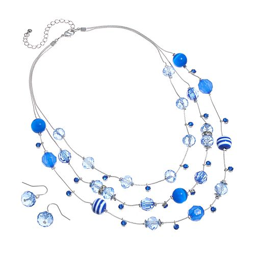 Silver Tone Simulated Crystal & Striped Bead Multistrand Necklace & Drop Earring Set