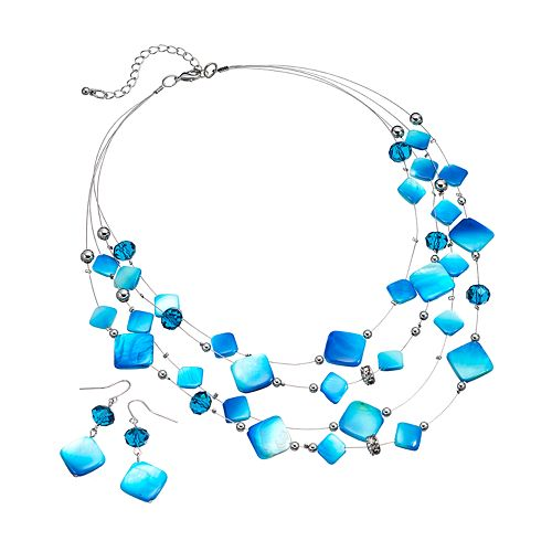 Simulated Crystal & Square Bead Multistrand Necklace & Drop Earring Set