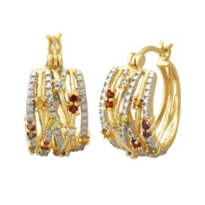 18k Gold Over Silver Gemstone and Diamond Accent Openwork Hoop Earrings