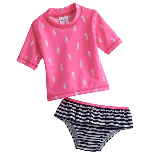 Carters Baby Girls 2-Piece Striped Rashguard Set 2T Hotpink