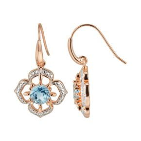 18k Rose Gold Over Silver Sky Blue Topaz and Diamond Accent Flower Drop Earrings