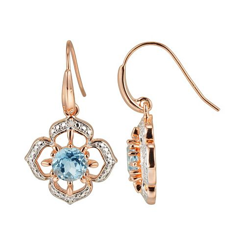 18k Rose Gold Over Silver Sky Blue Topaz & Diamond Accent Flower Drop Earrings