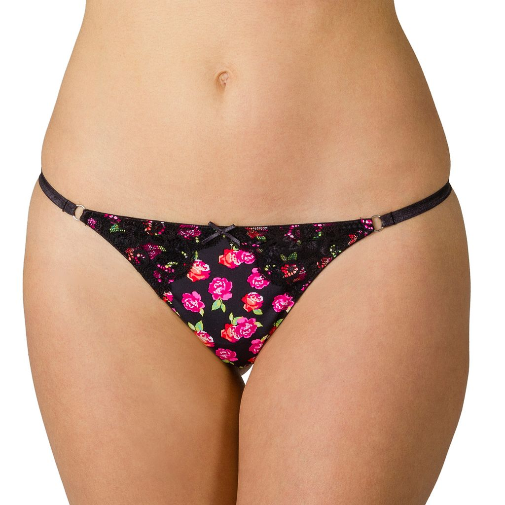 Juniors' Candie's® Microfiber Lace-Trim G-String Thong