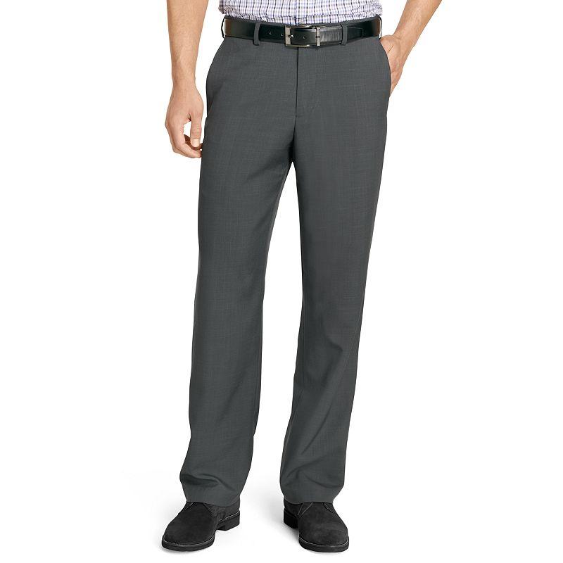Van Heusen Crosshatch Straight-Fit No-Iron Flat-Front Dress Pants - Men