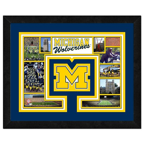 "Michigan Wolverines Framed Milestones and Memories 11"" x 14"" Wall Art"
