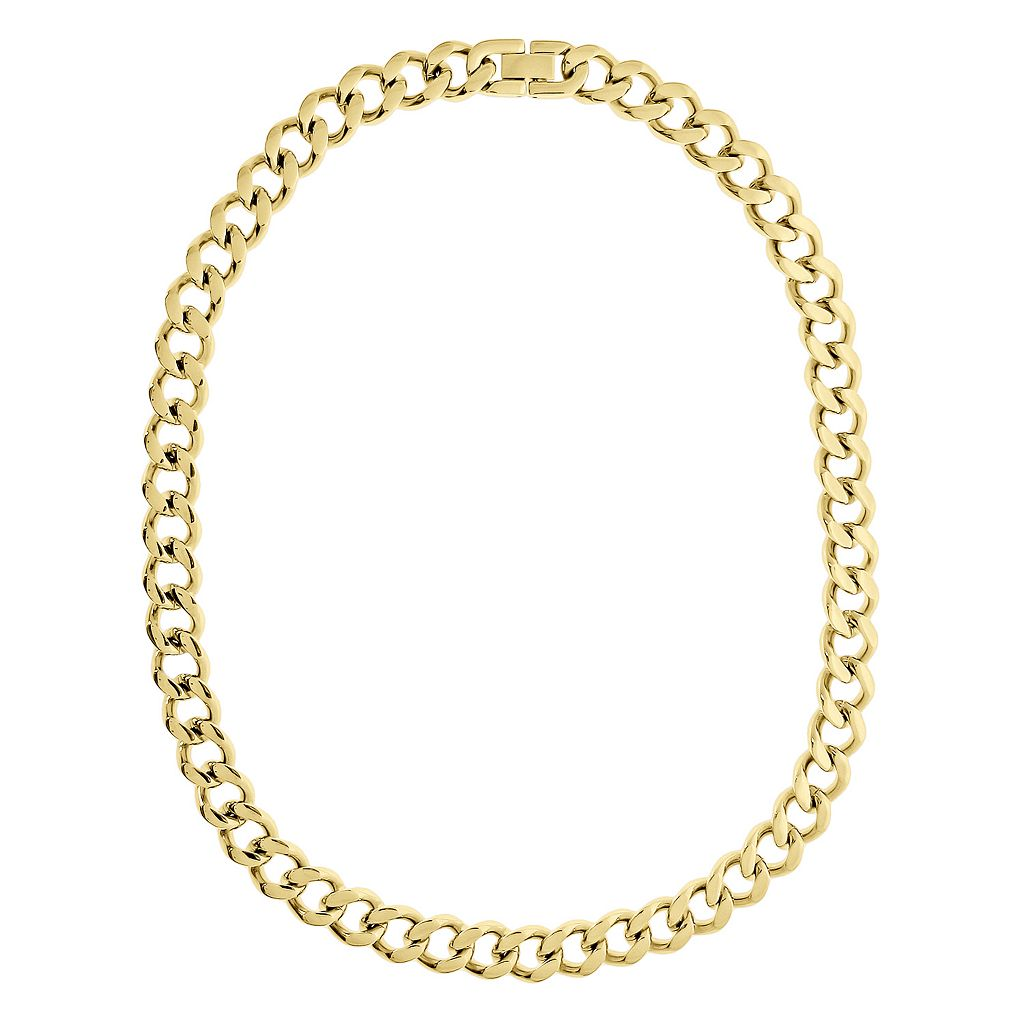 LYNX Yellow Ion-Plated Stainless Steel Curb Chain Necklace - 20-in.