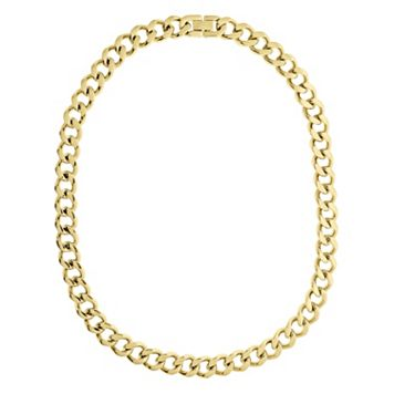 LYNX Yellow Ion-Plated Stainless Steel Curb Chain Necklace - 24-in.