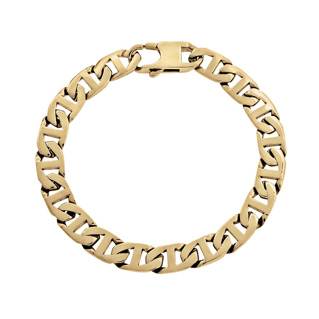 LYNX Yellow Ion-Plated Stainless Steel Mariner Chain Bracelet - 9-in.