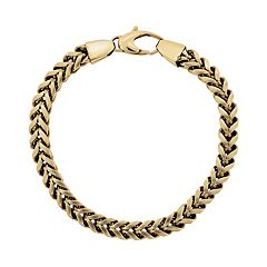 LYNX Yellow Ion-Plated Stainless Steel Foxtail Chain Bracelet - 9 in