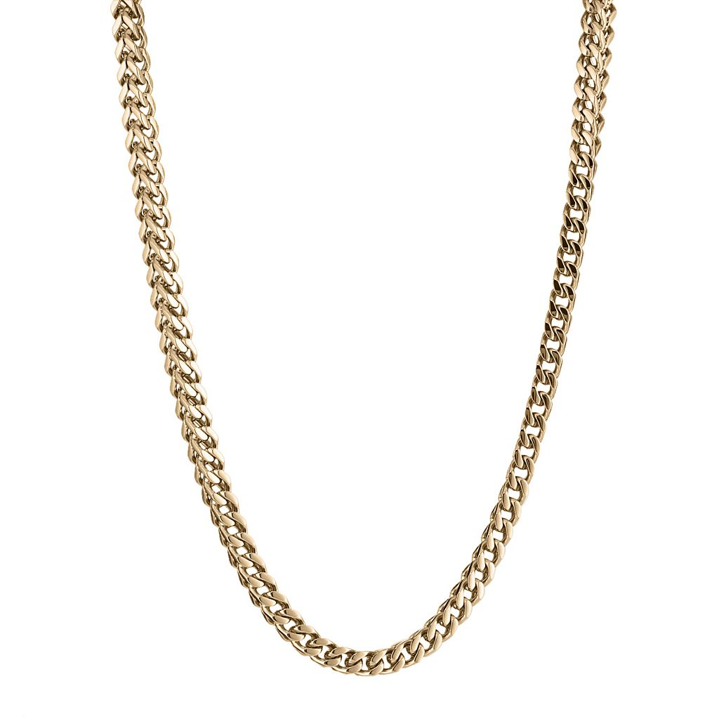 LYNX Yellow Ion-Plated Stainless Steel Foxtail Chain Necklace - 24-in.
