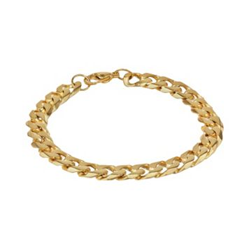 LYNX Yellow Ion-Plated Stainless Steel Curb Chain Bracelet - 9-in.