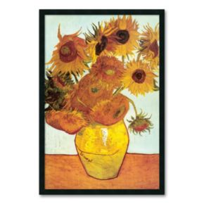 Sunflowers on Blue, 1888 Framed Wall Art by Vincent van Gogh