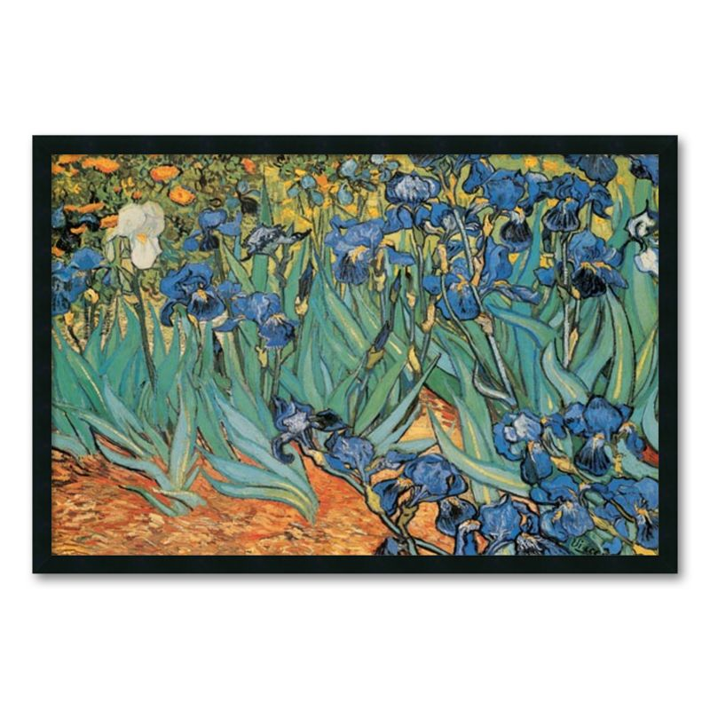 Garden Of Irises Framed Wall Art by Vincent van Gogh, Black